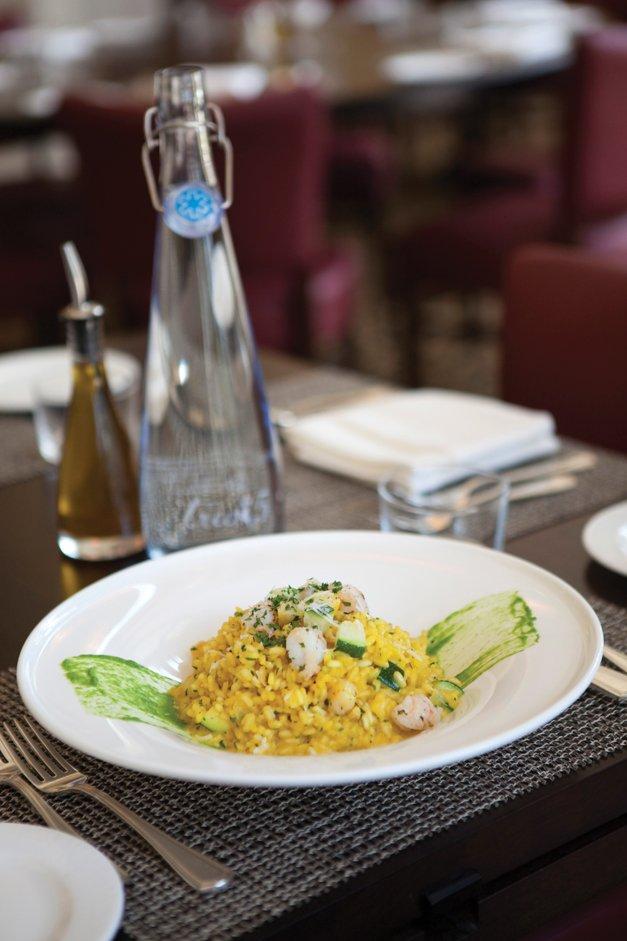 Saffron shrimp risotto with zucchini