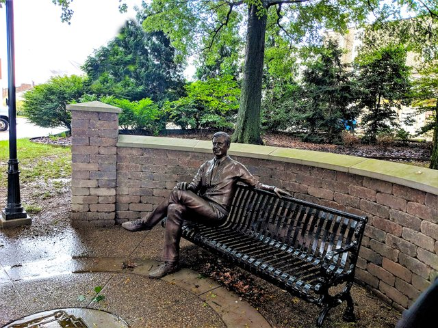 The Fred Rogers Statue in James H. Rogers Park.jpg