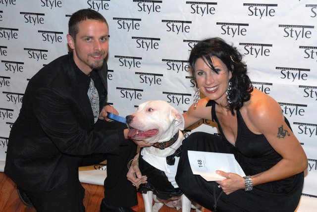 "Patrick Noll, Elysa Saverzoph & ""Bullet Proof"" a rescued pit bull who survived a bullet to the face"