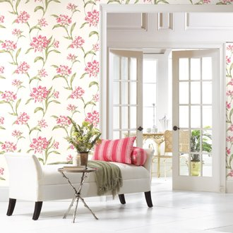 York Wallcoverings' Rhododendren pattern brings the outdoors in  www.yorkwallstore.com717-854-4285
